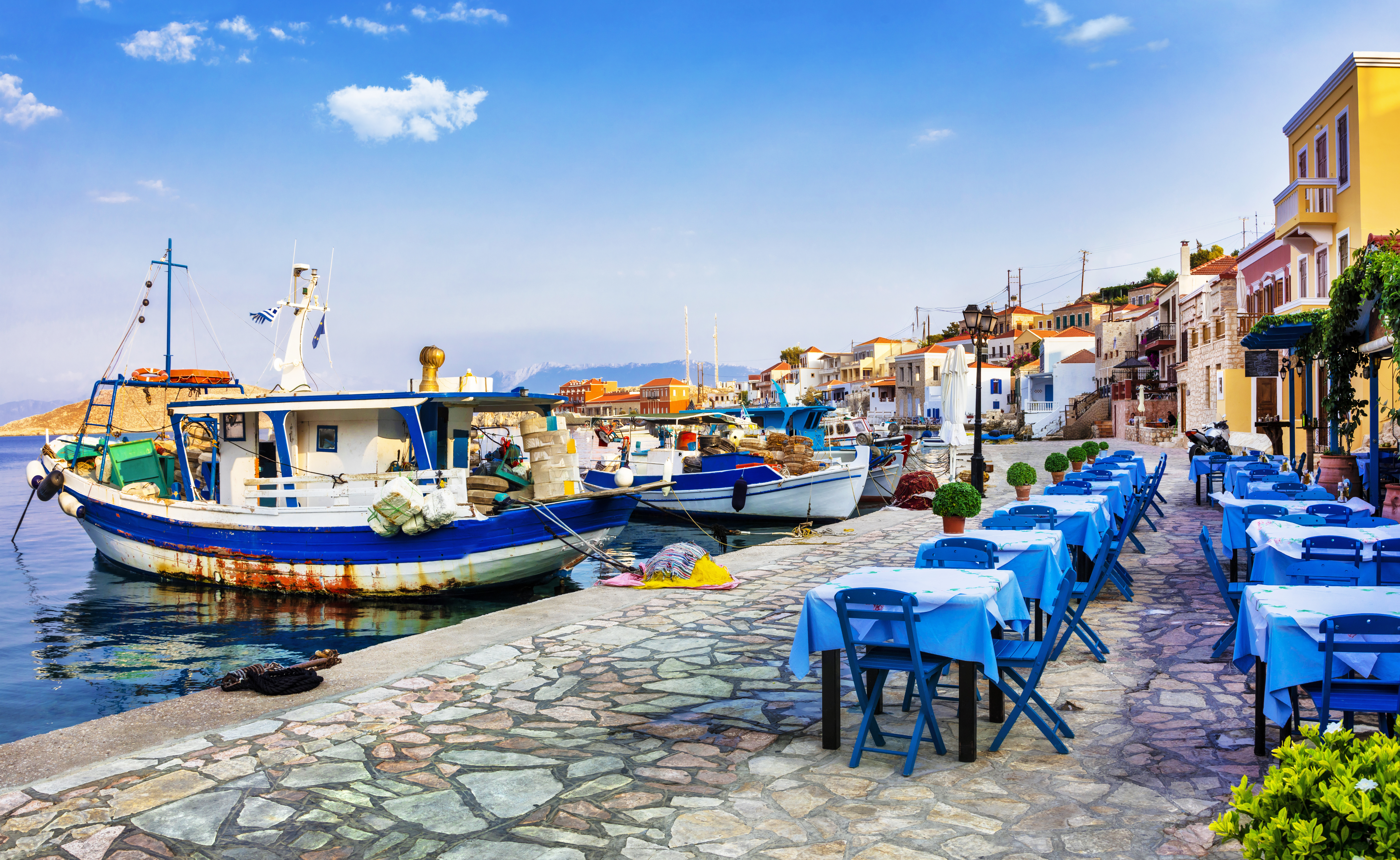 chalki island with old boats and tav
